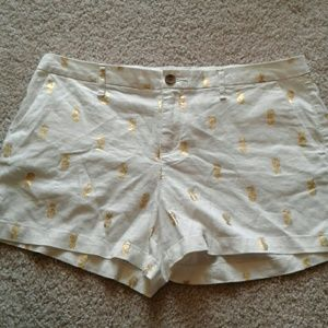Adorable Gold Pineapple Printed Linen Shorts